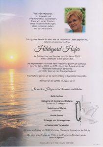 Parte Hildgard Hofer Archiv Trauerfälle Bestattung Schweighofer
