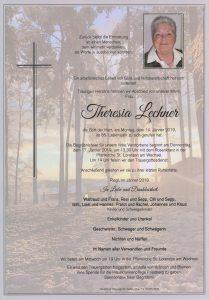Parte Theresia Lechner Archiv Trauerfälle Bestattung Schweighofer