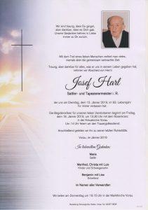 Parte Josef Harl Archiv Trauerfälle Bestattung Schweighofer