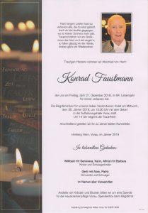 Parte Konrad Faustmann Archiv Trauerfälle Bestattung Schweighofer