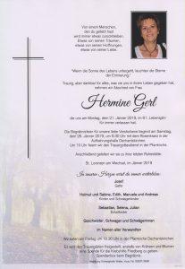 Parte Hermine Gerl Archiv Trauerfälle Bestattung Schweighofer