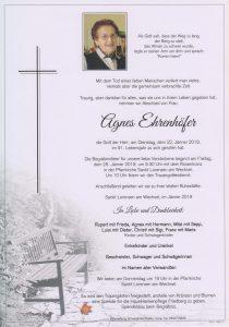 Parte Agnes Ehrenhöfer Archiv Trauerfälle Bestattung Schweighofer