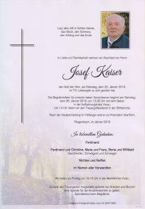 Parte Josef Kaiser Archiv Trauerfälle Bestattung Schweighofer