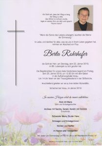 Parte Berta Rohrhofer Archiv Trauerfälle Bestattung Schweighofer