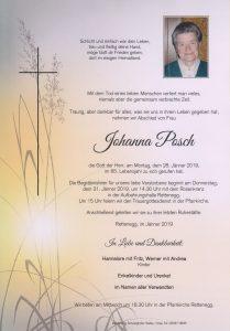 Parte Johanna Posch Archiv Trauerfälle Bestattung Schweighofer