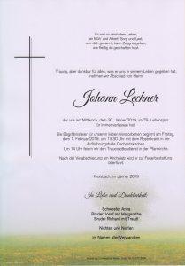 Parte Johann Lechner Archiv Trauerfälle Bestattung Schweighofer