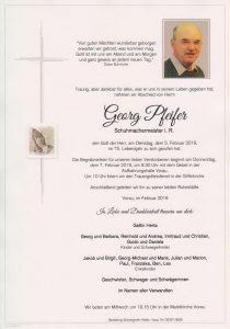 Parte Georg Pfeifer Archiv Trauerfälle Bestattung Schweighofer