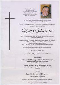 Parte Walter Schönbacher Archiv Trauerfälle Bestattung Schweighofer