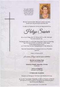 Parte Helga Saurer Archiv Trauerfälle Bestattung Schweighofer