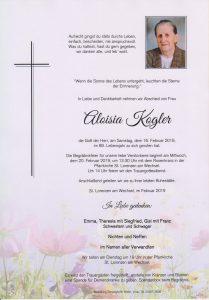 Parte Aloisia Kogler Archiv Trauerfälle Bestattung Schweighofer
