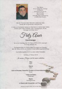 Parte Fritz Auer Archiv Trauerfälle Bestattung Schweighofer