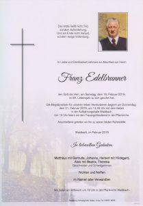 Parte Franz Edelbrunner Archiv Trauerfälle Bestattung Schweighofer