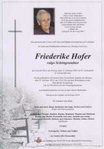 Parte Friederike Hofer Archiv Trauerfälle Bestattung Schweighofer