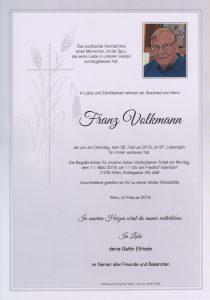 Parte Franz Volkmann Archiv Trauerfälle Bestattung Schweighofer