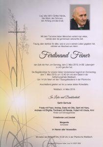 Parte Ferdinand Feiner Archiv Trauerfälle Bestattung Schweighofer