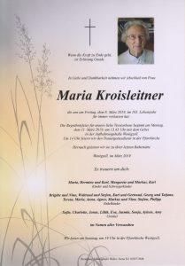 Parte Maria Kroisleitner Archiv Trauerfälle Bestattung Schweighofer