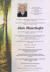 Parte Alois Mauerhofer Archiv Trauerfälle Bestattung Schweighofer