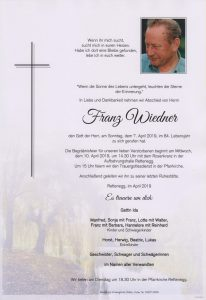 Parte Franz Wiedner Archiv Trauerfälle Bestattung Schweighofer