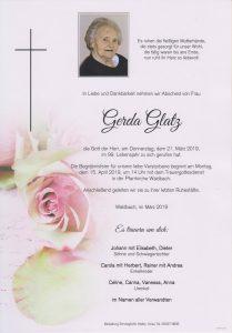 Parte Gerda Glatz Archiv Trauerfälle Bestattung Schweighofer