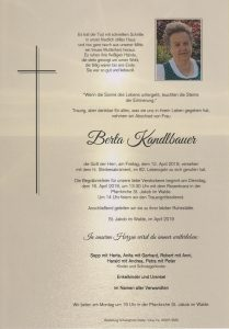 Parte Berta Kandlbauer Archiv Trauerfälle Bestattung Schweighofer