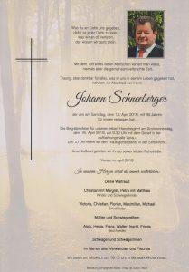 Parte Johann Schneeberger Archiv Trauerfälle Bestattung Schweighofer