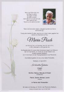 Parte Maria Posch Archiv Trauerfälle Bestattung Schweighofer