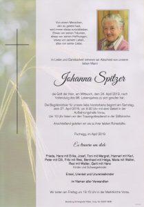 Parte Johanna Spitzer Archiv Trauerfälle Bestattung Schweighofer