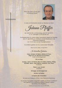 Parte Johann Pfeiffer Archiv Trauerfälle Bestattung Schweighofer