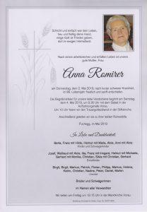 Parte Anna Romirer Archiv Trauerfälle Bestattung Schweighofer