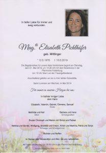 Parte Mag.a. Elisabeth Pichlhöfer Archiv Trauerfälle Bestattung Schweighofer