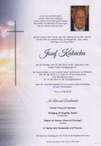 Parte Josef Kukacka Archiv Trauerfälle Bestattung Schweighofer