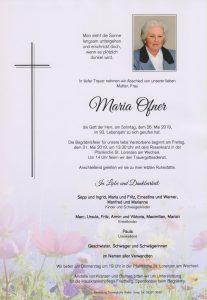 Parte Maria Ofner Archiv Trauerfälle Bestattung Schweighofer