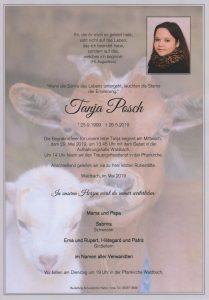 Parte Tanja Posch Archiv Trauerfälle Bestattung Schweighofer