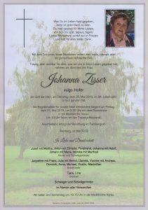 Parte Johanna Zisser Archiv Trauerfälle Bestattung Schweighofer