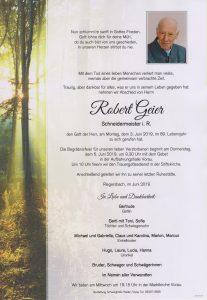 Parte Robert Geier Archiv Trauerfälle Bestattung Schweighofer