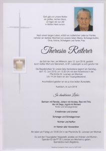 Parte Theresia Reiterer Archiv Trauerfälle Bestattung Schweighofer