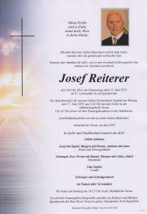 Parte Josef Reiterer Archiv Trauerfälle Bestattung Schweighofer