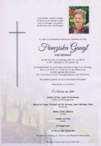Parte Franziska Gaugl Archiv Trauerfälle Bestattung Schweighofer