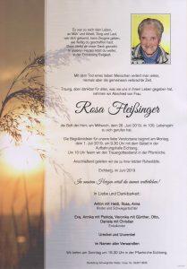 Parte Rosa Fleissinger Archiv Trauerfälle Bestattung Schweighofer