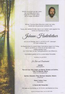 Parte Johann Hinterleitner Archiv Trauerfälle Bestattung Schweighofer
