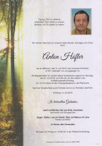 Parte Anton Höfler Archiv Trauerfälle Bestattung Schweighofer