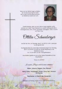 Parte Ottilia Schneeberger Archiv Trauerfälle Bestattung Schweighofer