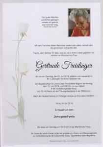 Parte Gertrude Freidinger Archiv Trauerfälle Bestattung Schweighofer