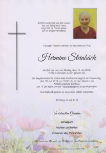 Parte Hermine Steinbäck Archiv Trauerfälle Bestattung Schweighofer