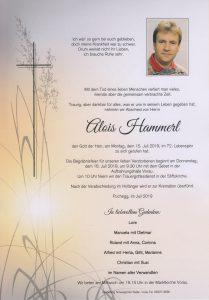 Parte Alois Hammerl Archiv Trauerfälle Bestattung Schweighofer