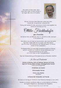 Parte Ottilie Feichtenhofer Archiv Trauerfälle Bestattung Schweighofer