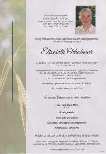 Parte Elisabeth Ochabauer Archiv Trauerfälle Bestattung Schweighofer
