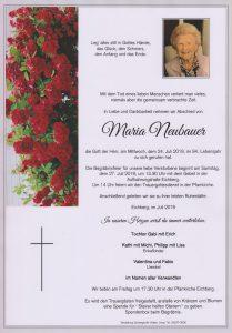 Parte Maria Neubauer Archiv Trauerfälle Bestattung Schweighofer