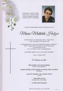 Parte Maria Mathilde Holzer Archiv Trauerfälle Bestattung Schweighofer
