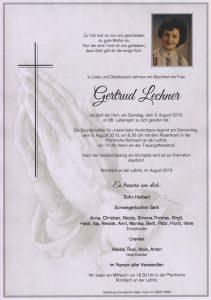 Parte Gertrud Lechner Archiv Trauerfälle Bestattung Schweighofer